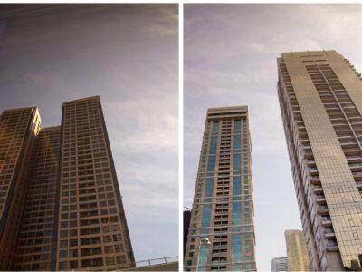 Lite höga hus nere i Dubai